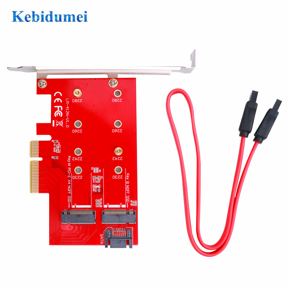 Kebidumei M2 NGFF TO PCIE X4 Adapter Support PCI Express 3.0 2230 2242 2260 2280 Size M Key And B Key SATA Port Expansion Card