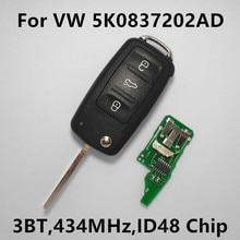 Дистанционного ключа 434 МГц ID48 Чип для VW Volkswagen GOLF PASSAT Tiguan Polo Jetta Жук Автомобилей Автозапуск 5K0 837 202AD 5K0837202AD