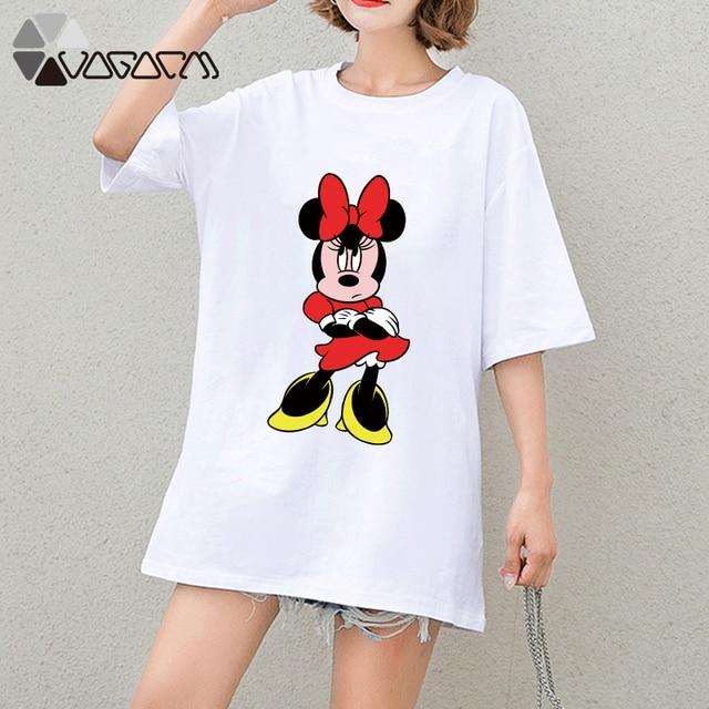Camiseta Minnie Mickey Mouse Roupas de verão Mulheres Imprimir Tops Tee Manga Curta Branco Moda Solto Bonito Dos Desenhos Animados Plus Size T Camisas