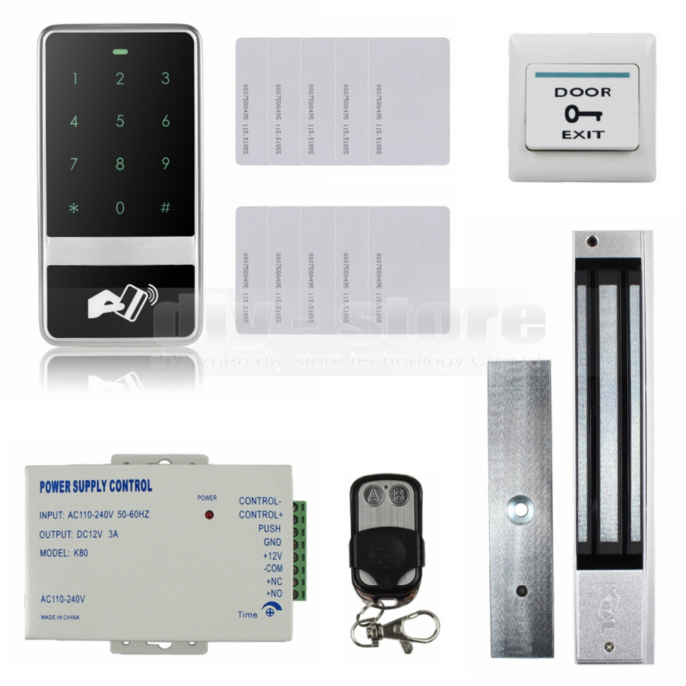 DIYSECUR 8000 Users Magnetic Lock 125KHz RFID Reader Password Keypad Door Access Control Security System Kit diysecur 125khz rfid reader password keypad access control system security kit 280kg magnetic lock door lock exit button