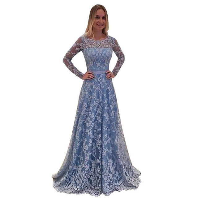 Long Blue Lace Dress Women Party Elegant Floral Lace Dress Floor Pleated  Women Sexy Backless Maxi Dress