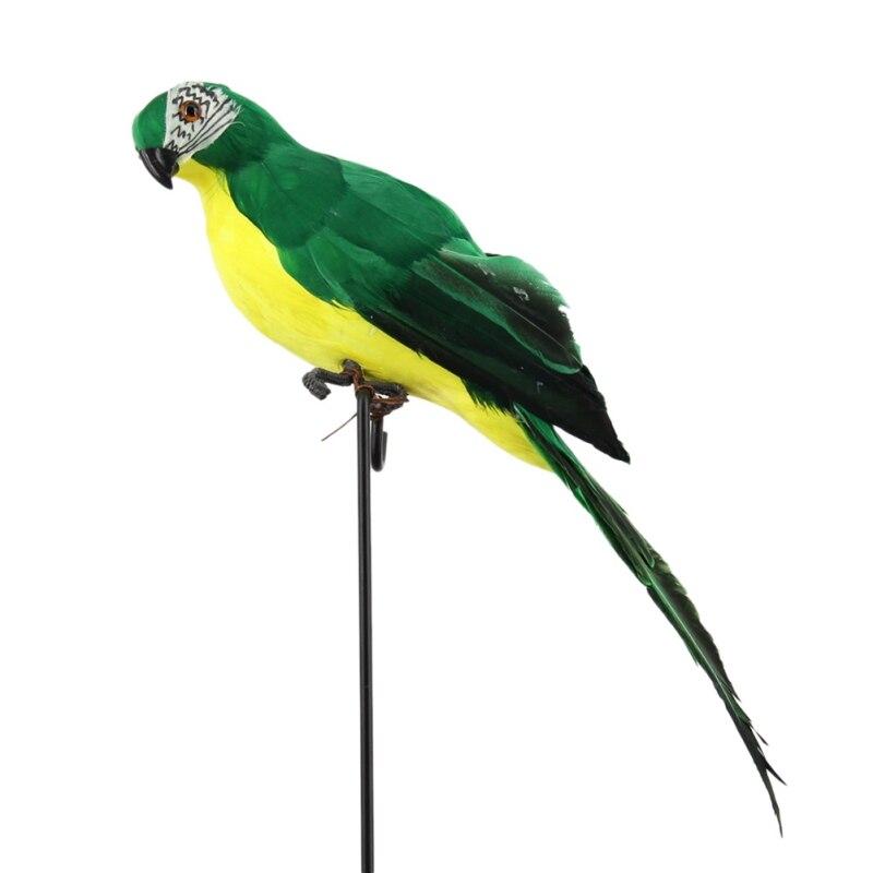 Ручной работы моделирование попугай сад Декор Творческий перо газон пена фигурка орнамент животное птица забор птица реквизит украшения - Цвет: Зеленый
