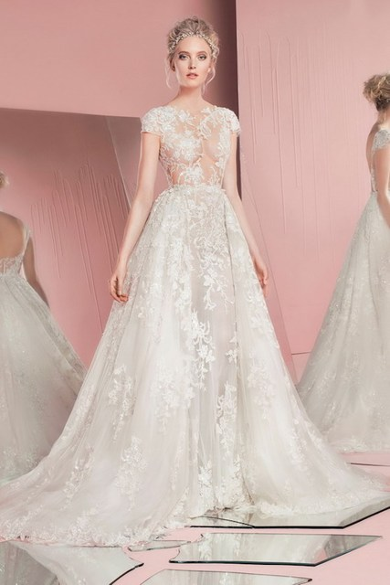 9b94cf093efc See Through Lace Wedding Dress With Short Sleeves 2016 Zuhair Murad Bridal  Gowns