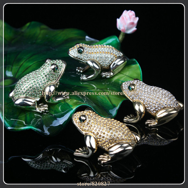 Frog Shape Metal Crystal Rhinestone Jewelry Box Gorgeous Frog Jewelled Trinket Box with Inlaid Crystal, Pill Box Figurine