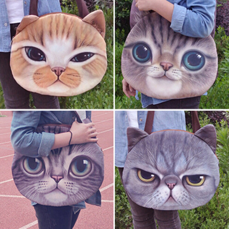 0bbb72739b DAUNAVIA cute 3D cat face female handbag Messenger bag handbag animal  canvas shoulder bag face zipper wholesale 5 colors ND006-in Shoulder Bags  from Luggage ...
