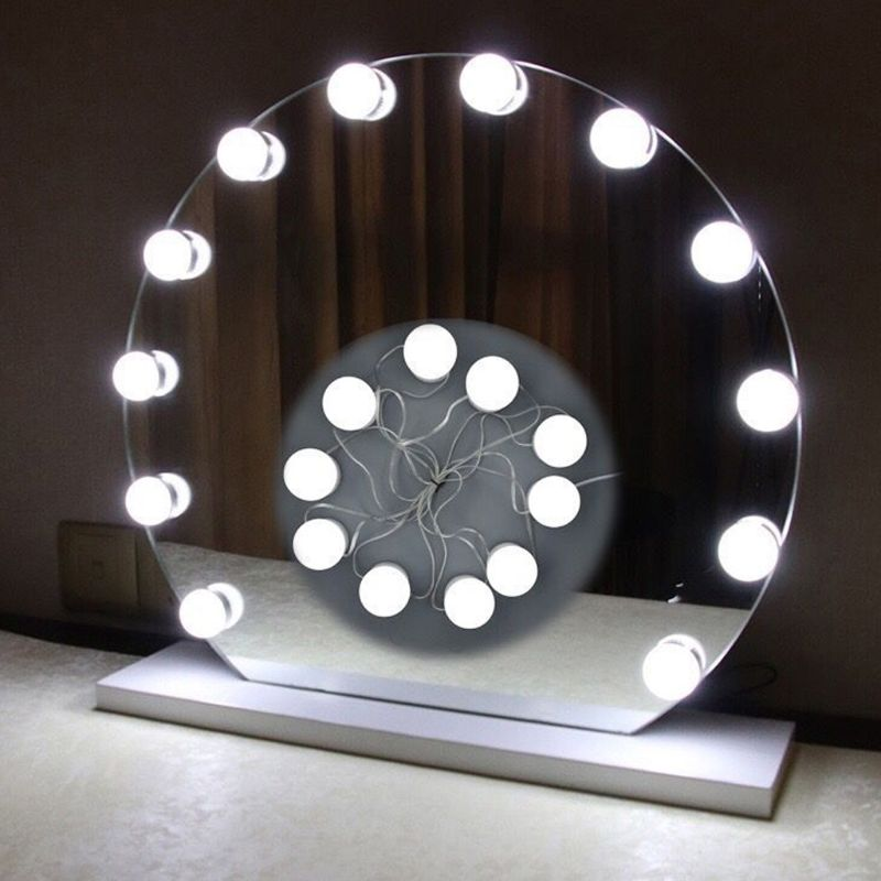 2 Styles 10 LED Bulbs Vanity LED Mirror Light Kit For Makeup Hollywood Mirror With Dimmable Light Bulb цена