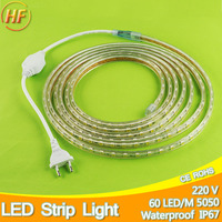 1m 25m Led Strip With EU Plug Waterproof IP67 SMD5050 LED Tape AC220V Flexible 60 Leds