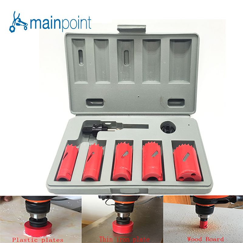 цена на Mainpoint 7 Pcs HSS Bi-metal M3 Hole Saw Bit Cutting Set Kit 22-38mm Cutting Metal Steel Plastic Wood Sheet Hole Saw Hand Tools