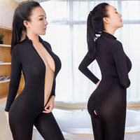 Sexy Bodystocking Women Lingerie Sexy Hot Erotic Costumes Open Crotch Sheer Bodysuit Double Zipper Long Sleeves