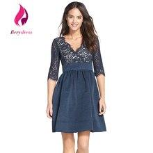 Berydress элегантный работа vestidos three четверти летом случайные dress a-line особых поводов вмс кружева женщин платья 2017 плюс размер