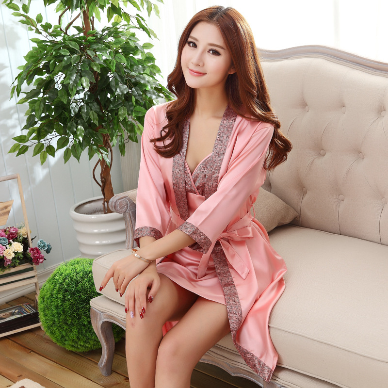 Hot Sale 2pcs Long Robe Set Satin Rayon Bathrobe For Women Kimono Bath Gown Sleepwear Nightwear Bride Bridesmaid Bathrobes WM01