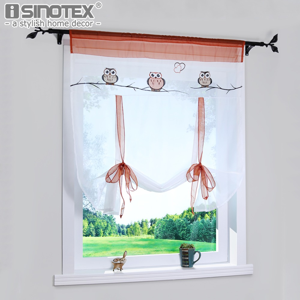 Roman Curtain Cute Owl Printing Sheer Window Curtain For Kitchen Living Room Voile Screening Drape Panel With Belt 1 PCS/Lot