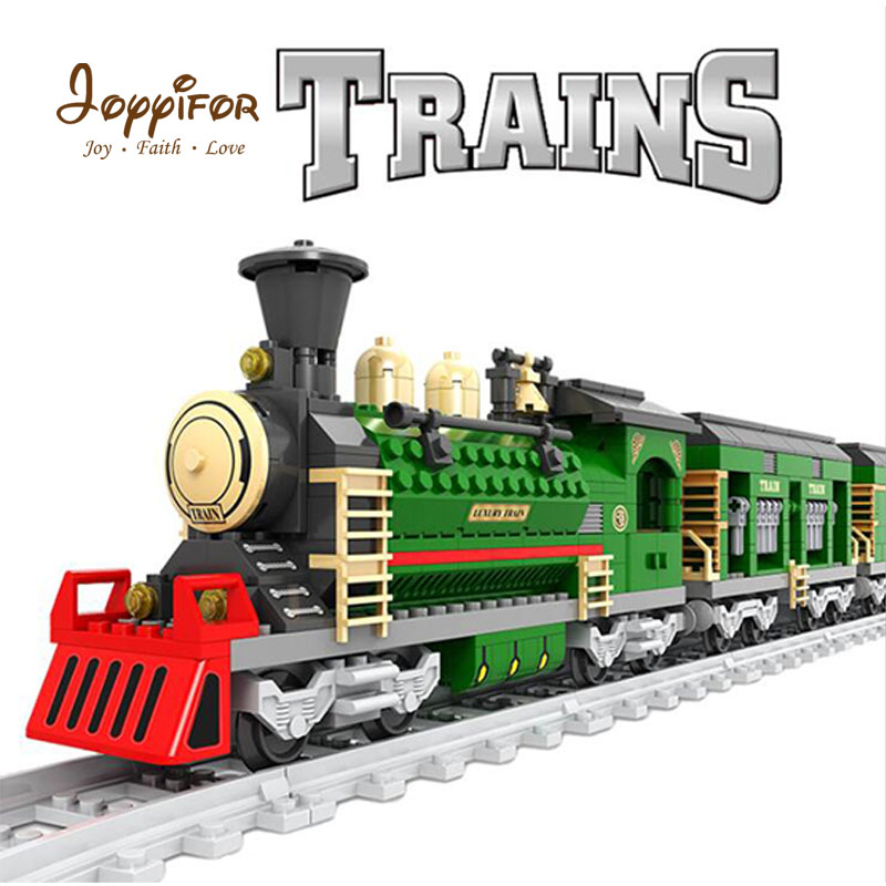 Joyyifor Vintage Pick-up Goods train locomotive Train Figure Model LegoINGlys Building Blocks Bricks Playset Railway Toys Gift