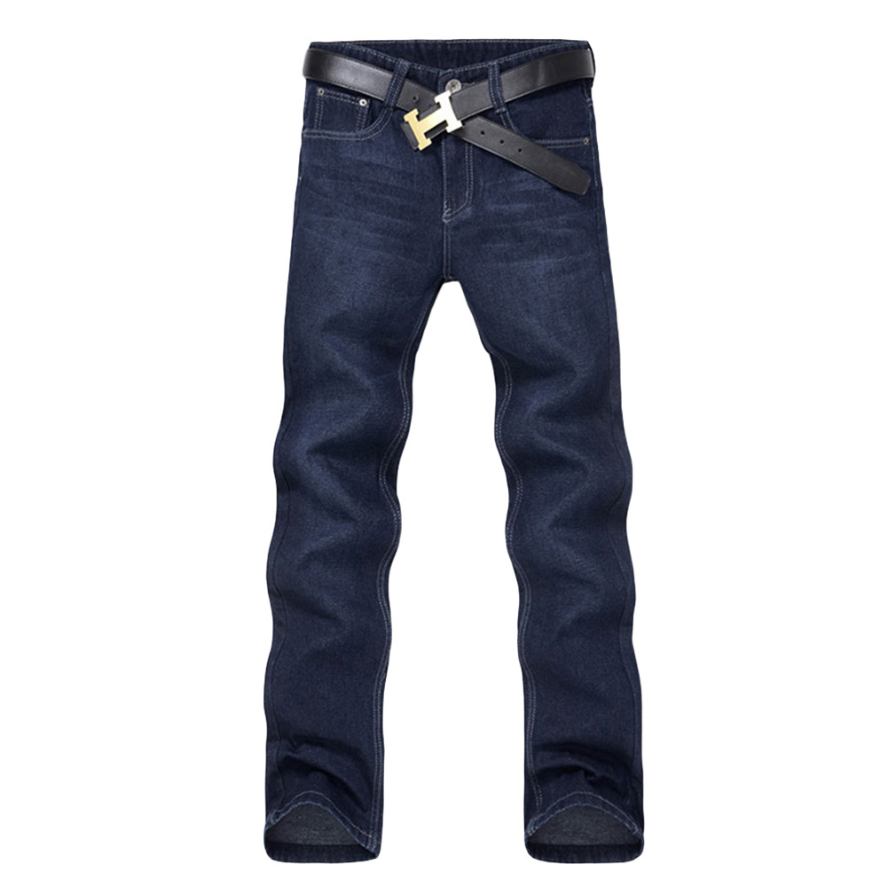 Classic Men Casual Mid-Rise Straight Denim Jeans Long Pants Comfortable Trousers