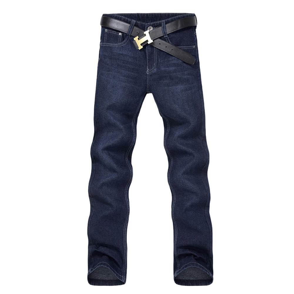 Classic Men Casual Mid-Rise Straight Denim Jeans Long Pants Comfortable Trousers