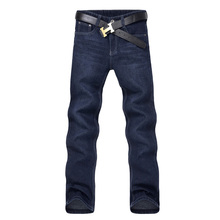 Classic Men Casual Mid-Rise Straight Denim Jeans Long Pants