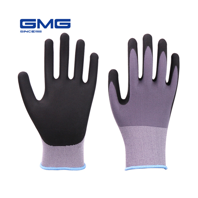 Лидер продаж 2018 GMG нейлон спандекс CE сертифицированный EN388 Microfine пены перчатки нитрила безопасности рабочие для мужчин