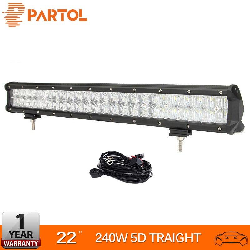 Partol 23 240W 5D LED Light Bar Spot Flood Combo Beam Car Work Light Bars Driving