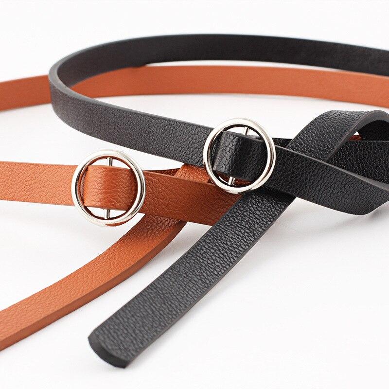 Le nouveau double tissu petite boucle ronde dames ceinture robe cravate mince ceinture