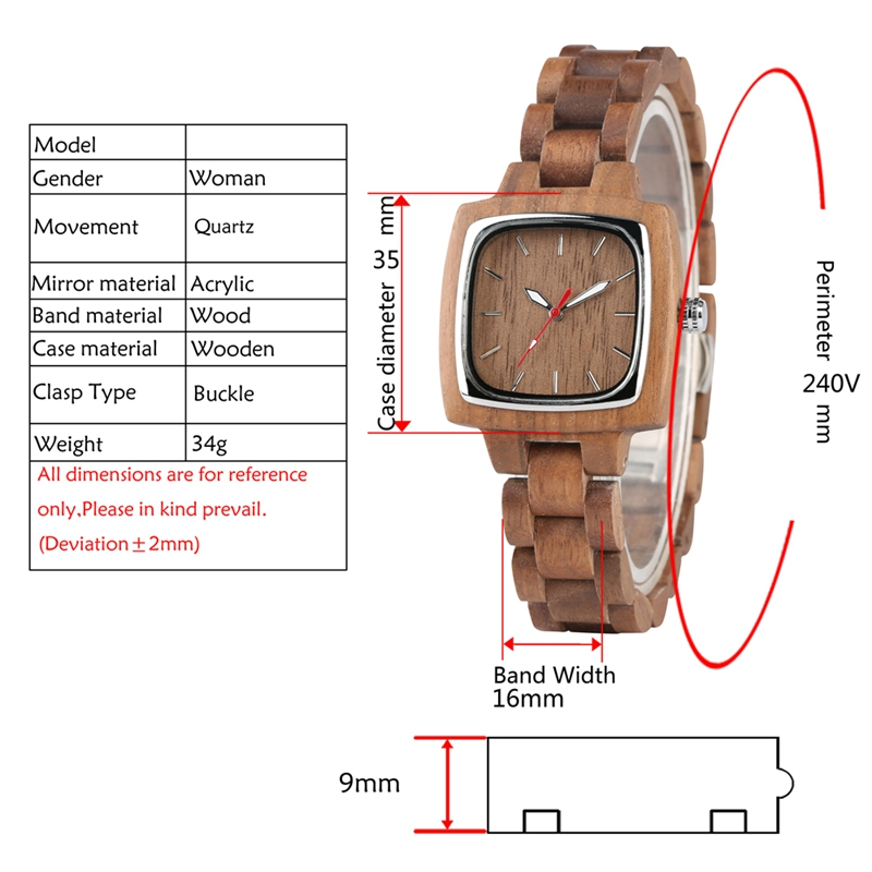 Retro Wood Women Watch Unique Square Circle Dial Design Full Wooden Bracelet Woman Ladies Clock Quartz Wristwatch dames horloges 2019 2020 2022 (7)