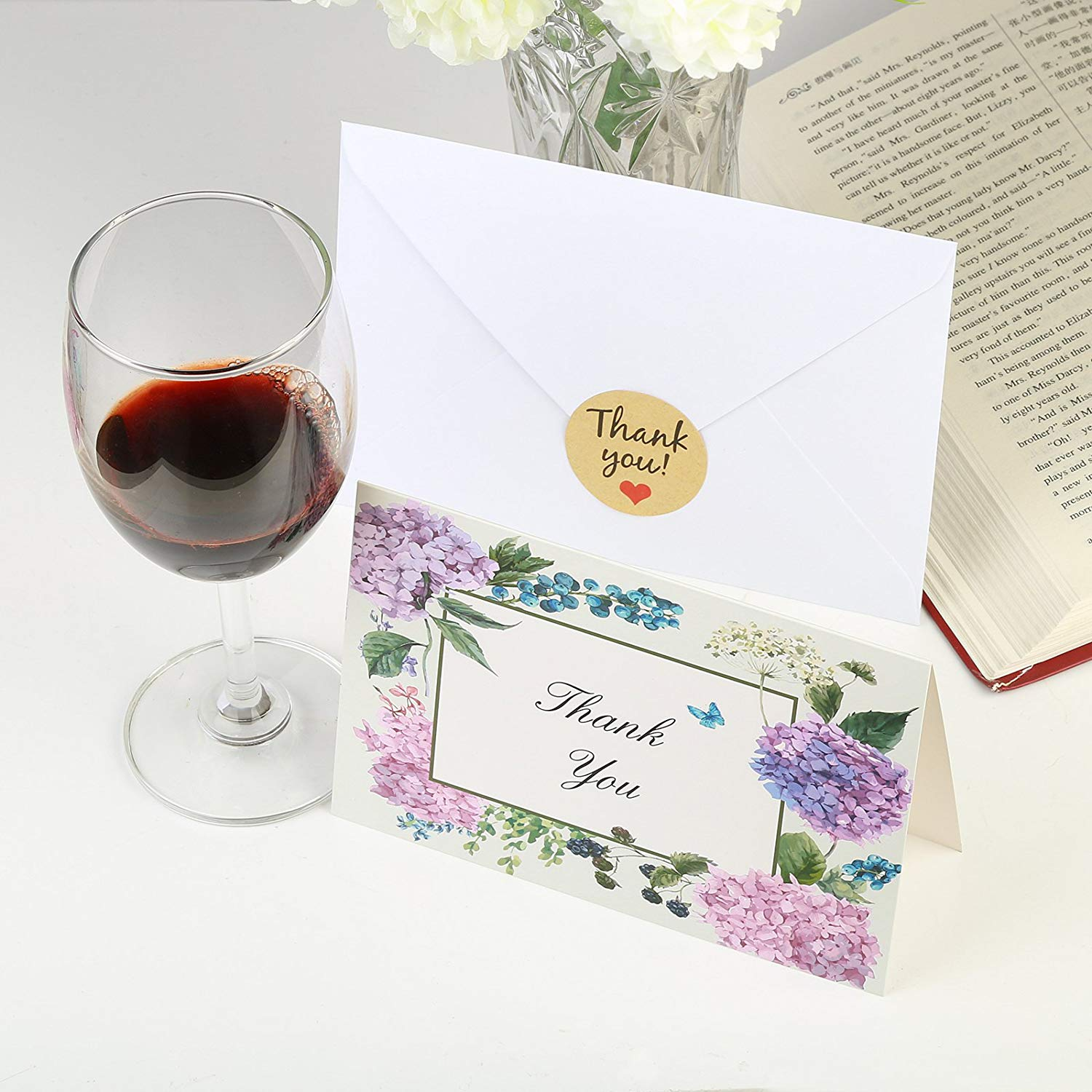 48sets 8 Designs Thank You Card Notes Floral Greeting Cards For