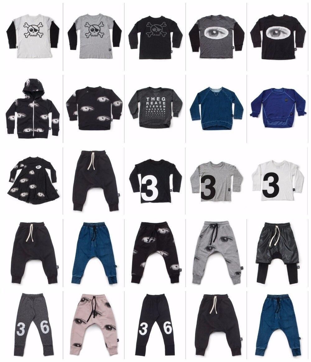 2017 autumn winter new nununu kids harem pants skull t shirts jackets coat baby boy clothes vestidos children brand clothes