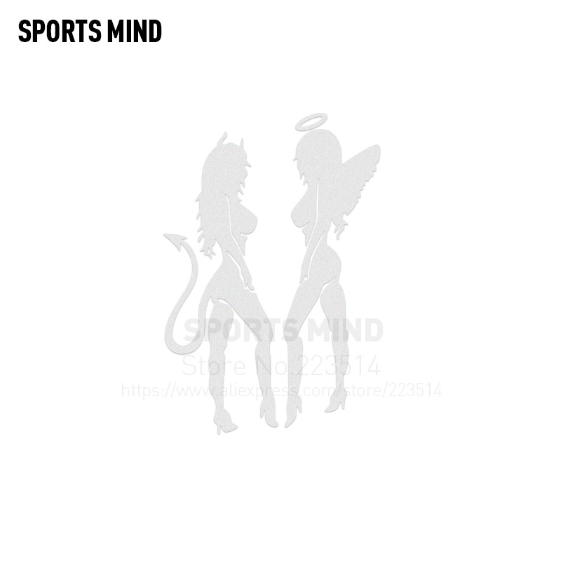 3 Pieces Sports mind Angel and devil sexy beauty Automobiles Waterproof Reflective vinyl Sticker Decal For All Car accessories
