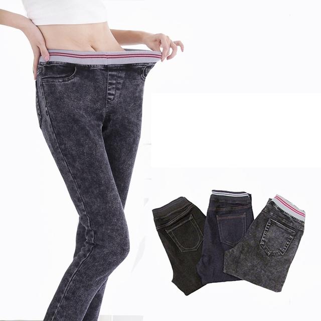 Nova Chegada da Primavera e do Outono Estilo Plus size 6XL 115Kg calças de Brim das mulheres Mostram Fina Calças Femininas Inverno Elástico Na cintura elástica grande