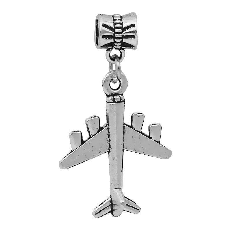 1PC Airplane Charms Antique Silver Dangle Bead For European Pandora Charm Women's bracelets DIY Pulseras Necklaces