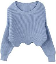 brand women's light blue short style Wavy edge sweater high quality knitted striped jumper pullovers sweater
