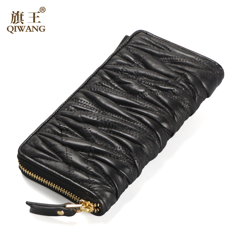 qiwang luxo mulheres carteira de Item : 2017 Luxury Women Wallet Sheepskin Women Wallet Long Patchwork Lambski