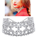 Gothic Punk Silver Rhinestone choker 2016 statement necklaces for women big Fashion necklace Collar Chunky Necklace Collier