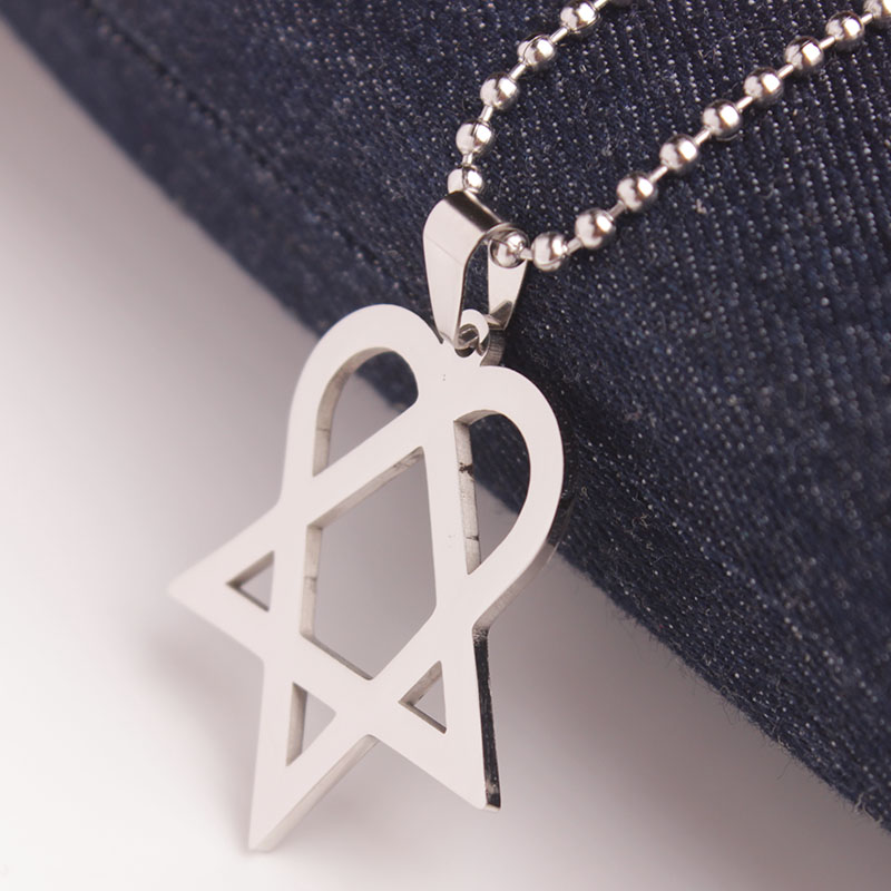 Skyhai heartagram pentagram and heart pendant necklace stainless skyhai heartagram pentagram and heart pendant necklace stainless steel necklace for men women in pendant necklaces from jewelry accessories on aloadofball Choice Image