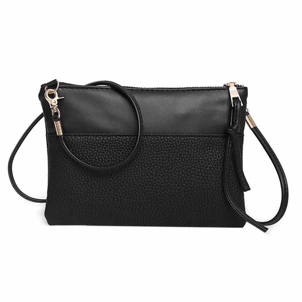 16a62307db Women Fashion Solid Color Zipper Shoulder Bag simple flap Crossbody Bag PU  Leather Phone Coin Bag new trend Handbag zk30