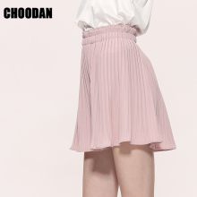 CHOODAN Women Pleated Shorts High Waist & Wide Legs