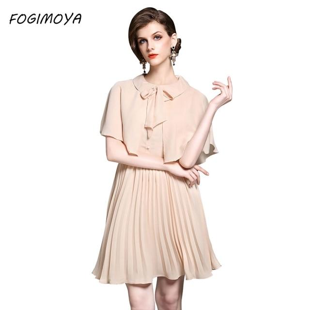 Fogimoya платье женские летние Мода 2017 лоскутное плиссированные платья женские Короткие рукава Мини Bodycon Фирменная Новинка Платье