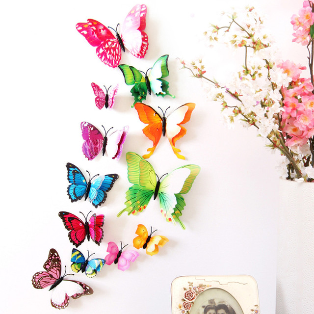 12pcs decal wall stickers home decorations 3d butterfly rainbow 12pcs decal wall stickers home decorations 3d butterfly rainbow adesivos de parede muurstickers voor kinderen kamers thecheapjerseys Gallery