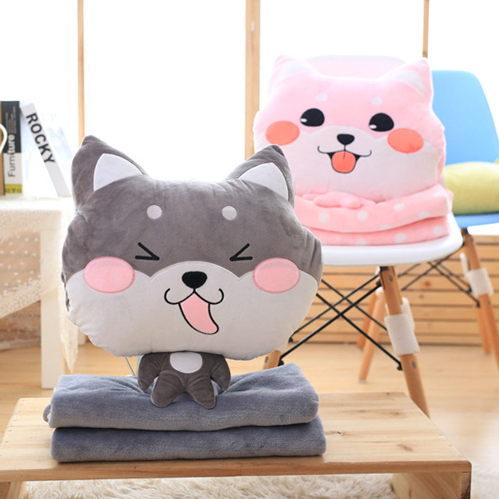 2 in 1 Dog Plush Pillow Removable Soft Stuffed Plush Toys Sleep Warm Hands Pillow +Flannel Blanket For Kids Supply