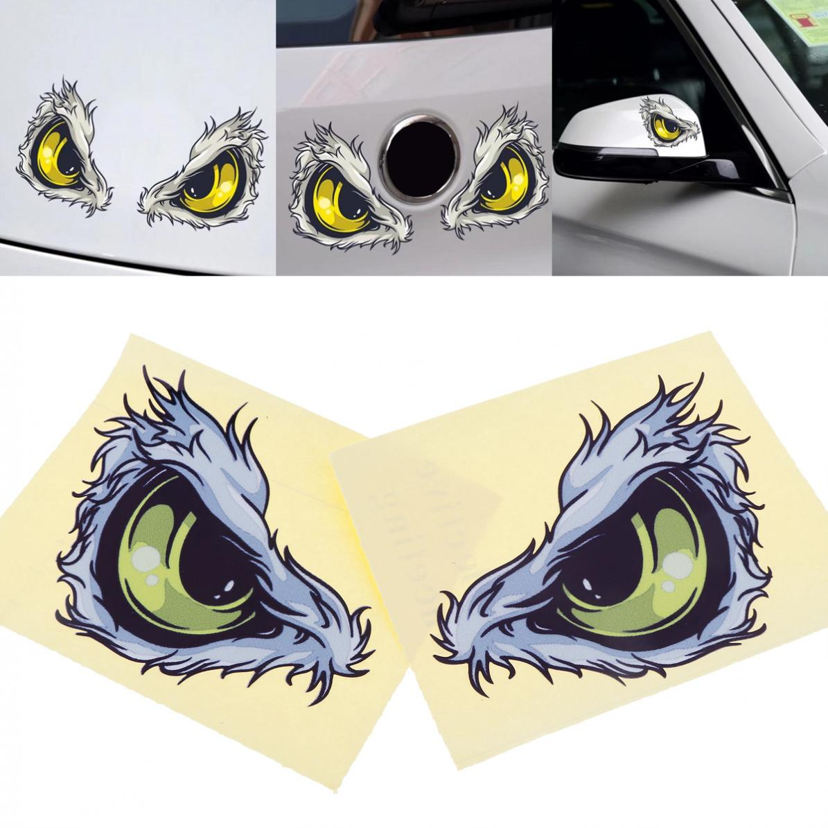 2pcs 3D 10 x 8CM Waterproof Reflective Material Eye Pattern Creative Funny Stereoscopic Car Sticker Accessories ...