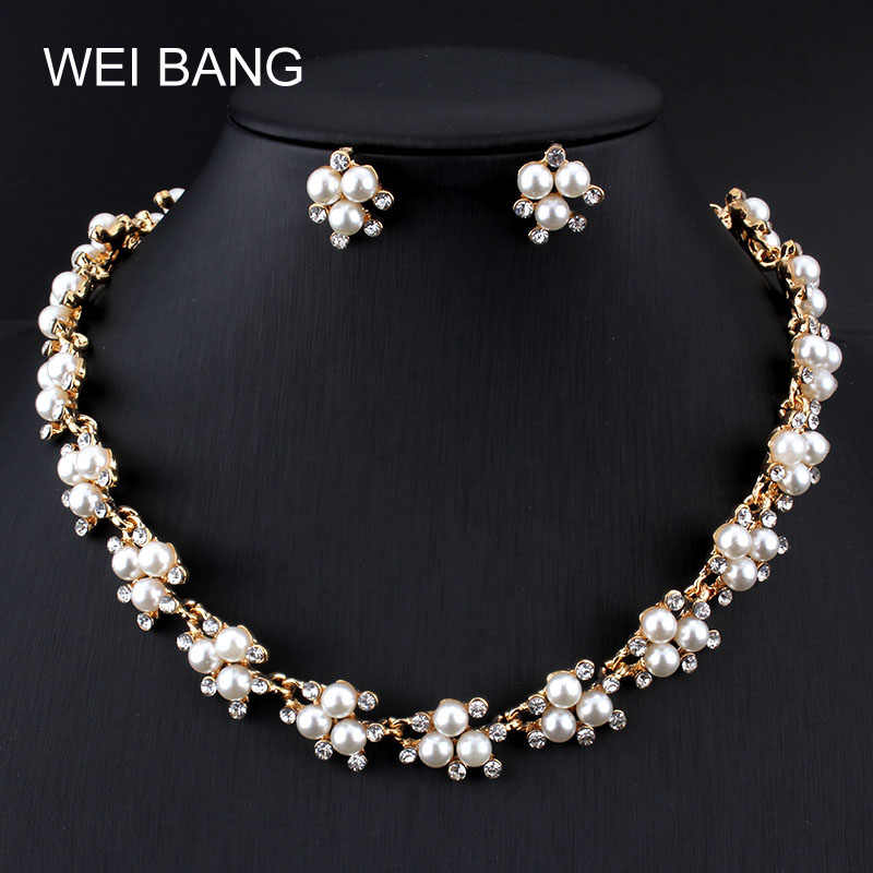 Charming Bridal Jewelry Sets Pearl Gold color Earrings Necklace Set Rhinestone Women Gift Jewelry For Wedding Accessories