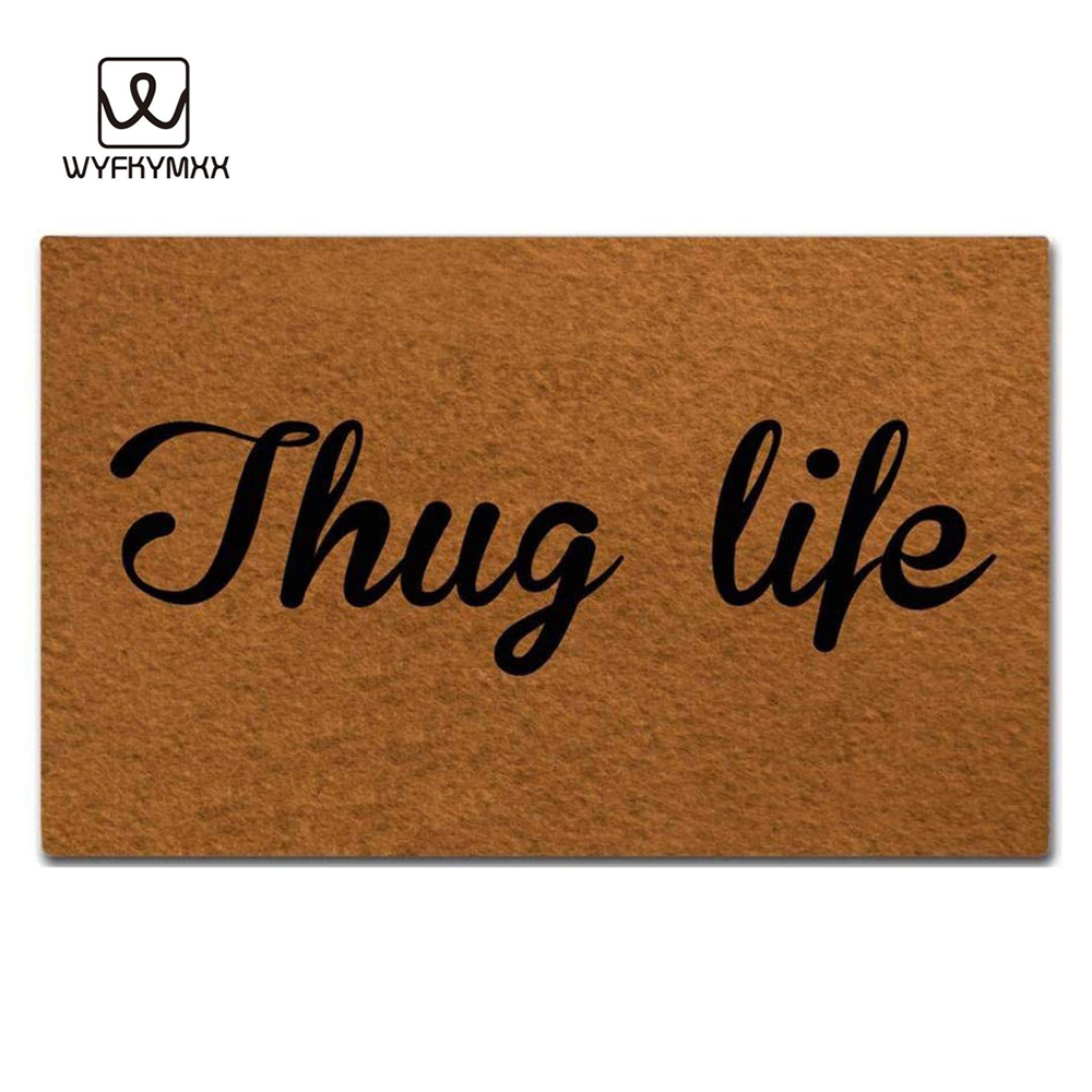 Thug Life - woven outdoor mat design doormat for entrance door Funny Front indoor rug mat non slip 18 x 30 door mat