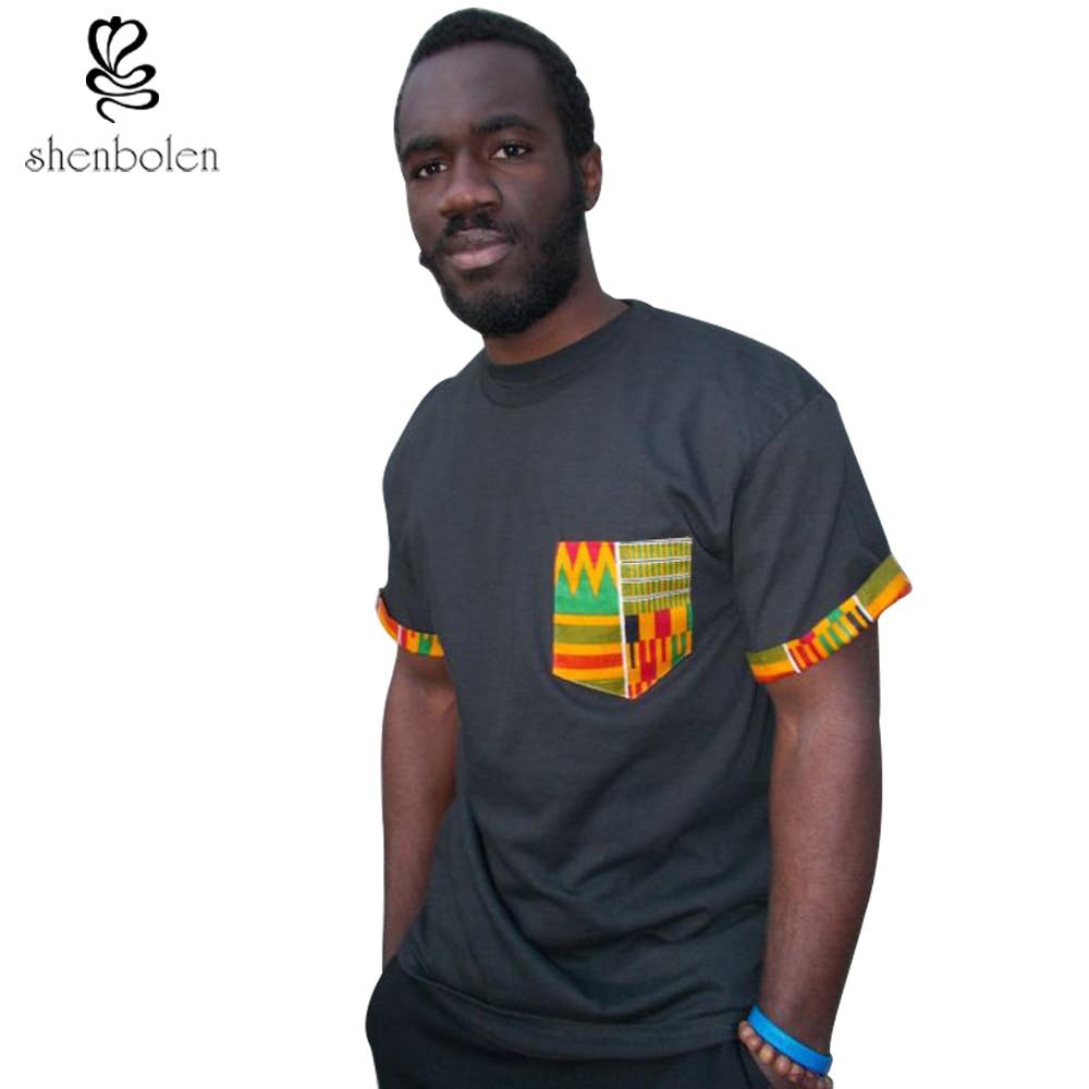 Shirt design in nigeria - 2017 Mens African Clothing Ankara Style Cotton Stitching Wax Printing Tops Man T Shirt Clothes Kitenge