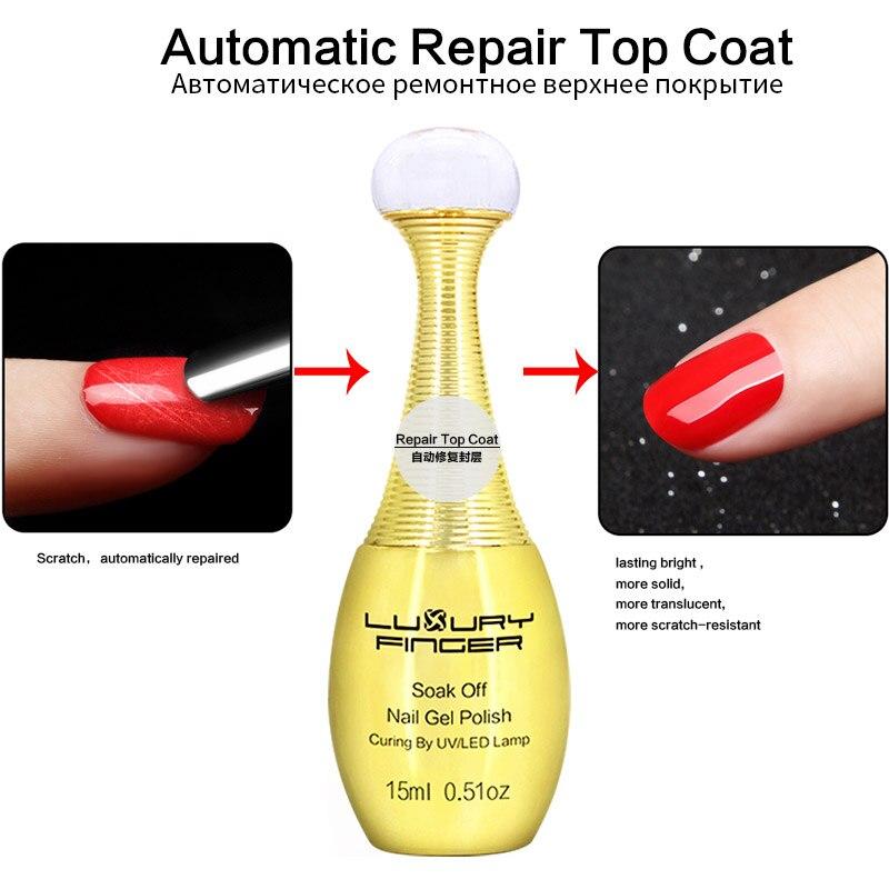 Luxury Finger 1pc 15ML Automatic Repair Top Coat UV Gel Nail Polish Varnish Long-lasting Bright Nails Lacquer Manicure Nail Art 15ml metallic mirror effect metal silver nail art polish varnish