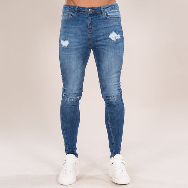 Gingtto 2018 Summer Men Skinny Jeans Light Blue Denim Super Stretch Fit For Street Fashion Elastic Pant Brand Zm26