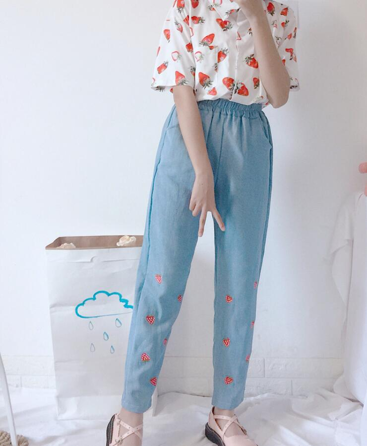 Summer women Cute Strawberry Embroidery   Jeans