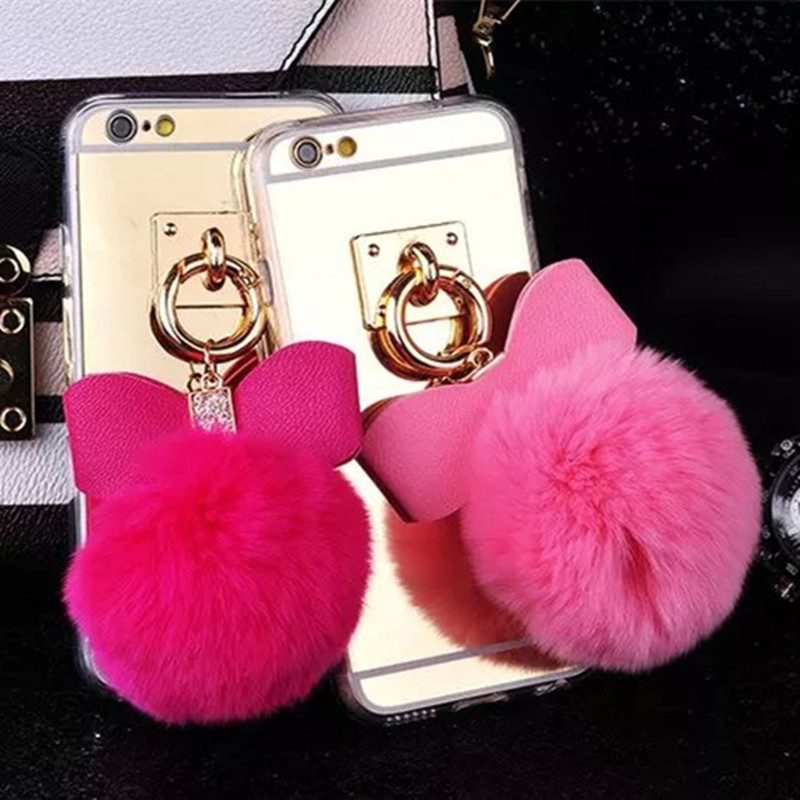 new product 0159a ad22c US $3.69 55% OFF|Fashion Lovely Soft Rabbit Fur Balls + Mirror Warm phone  Cases for Apple Iphone 6 6s plus Plush Housing Tpu back fluffy cases-in ...