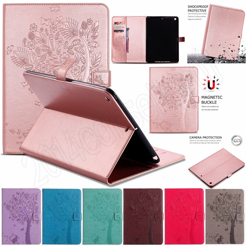 For Apple New iPad 9.7 2017 2018 Cases Cover A1822 Funda Tablet Shell High quality Cat Tree Pattern Stand PU leather Case A1823