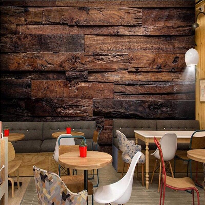 Купить с кэшбэком Beibehang Modern wallpaper 3d mural retro nostalgia wood panel fresco wallpaper 3d living room background wallpaper for wall 3 d