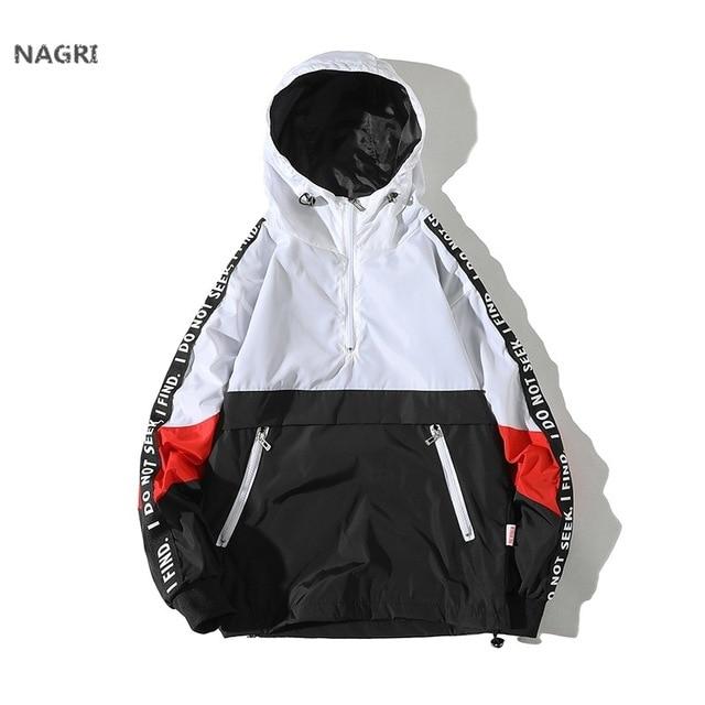 Windbreaker Jacket Men Spring Summer Casual Sports Hip Hop Streetwear Patchwork Splice Fashion Unisex Hooded Zipper Brand Jacket