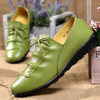 Dress Shoes Woman Party Ladies Flats Plated Genuine Leather Basic Female Shoes Lace Up Spring Autumn